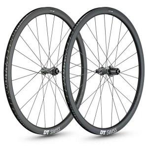 Paire Roues DT SWISS PRC carbone 1400 SPLINE DISC 35mm pneus